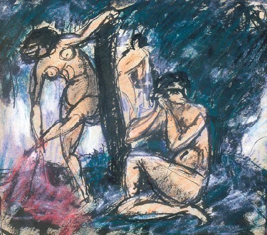 Kernstok Károly (1873-1940) Fürdőző nők Vegyestechnika, papír, 18x18 cm