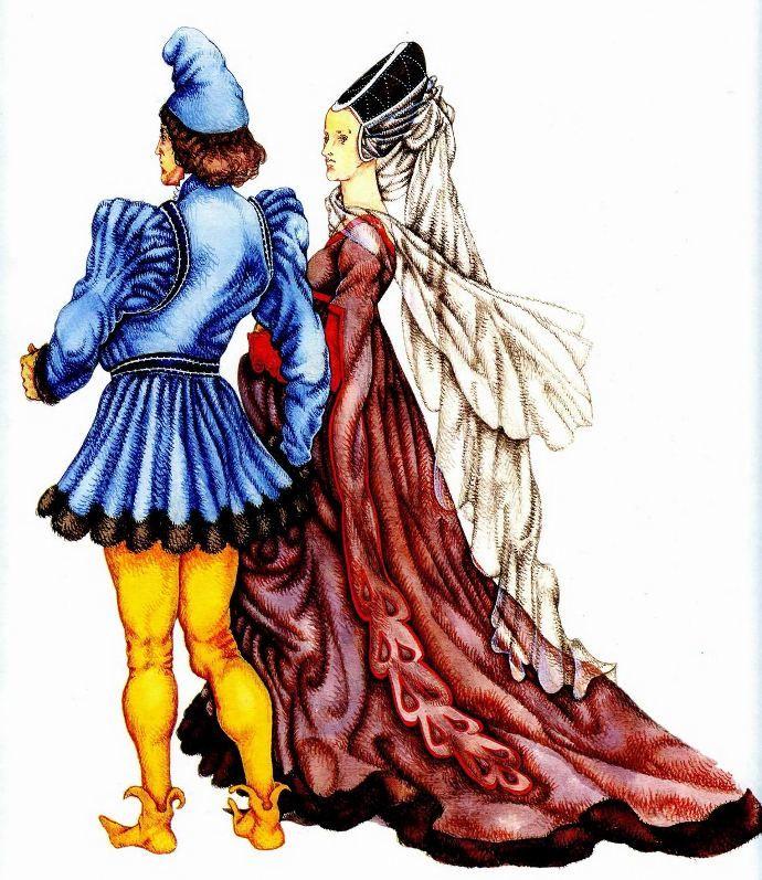 Бургундская мода (15 век). на мужчине: пурпуэн, ботинки с загнутыми носками; на женщине: платье-роб с длинным шлейфом