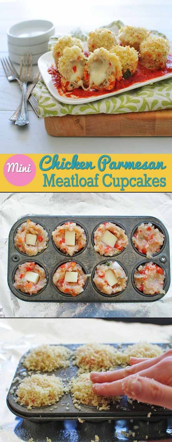 Mini Chicken Parmesan Meatloaf Cupcake.