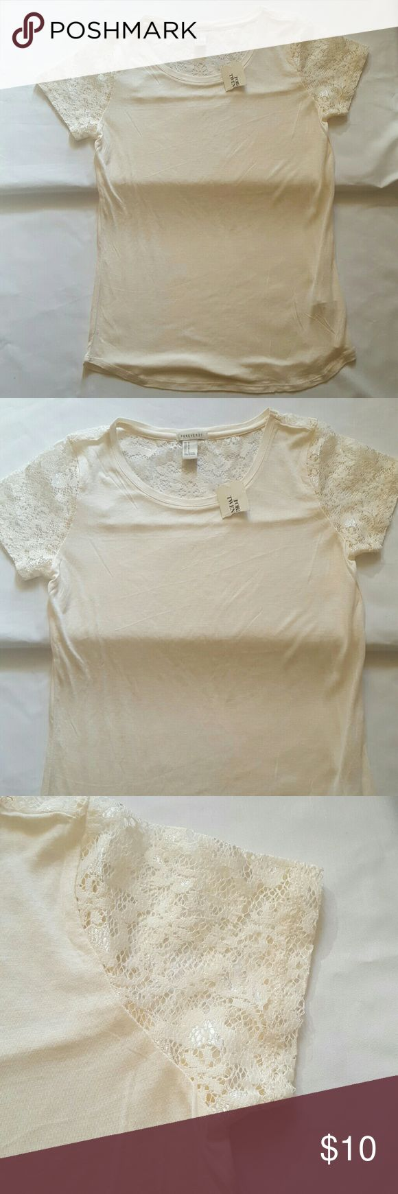 Forever21 Women's cream Lace blouse Forever 21 Women's Lace Sleeve Crew Neck T-shirt Color cream New with tags  Size medium    Lying flat, it measures  from underarm to underarm 15 inches double that around and it's 30 inches Shoulder to bottom of shirt measure 25 inches Forever 21 Tops Blouses