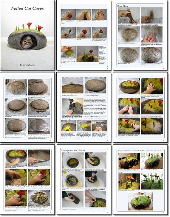 How to make Felted Cat Caves eBook tutorial by FeltingTutorials, $18.50