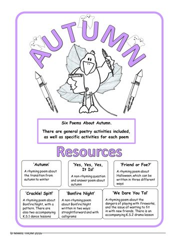 Autumn Poems - Six original poems about autumn, for poetry and thematic lessons.