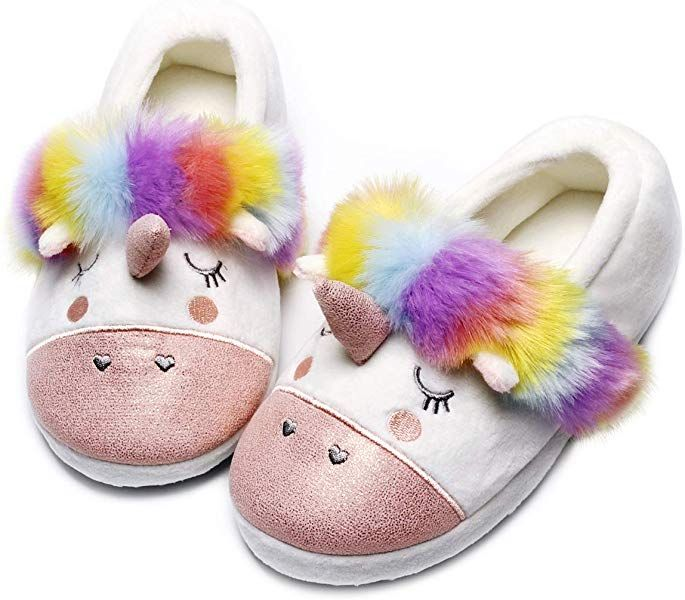 Amazon Com Unicorn Animal Slippers Cute Fuzzy Women Slippers Low Warm Slip On Cartoon House Slipper Kids Unicorn Slippers Animal Slippers Unicorn Slippers