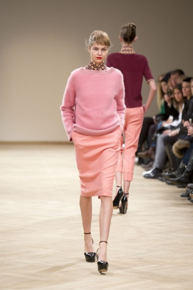 Shades of pink at Baum und Pferdgarten Autumn/Winter 2013 show, during Day 2 of Copenhagen Fashion Week.