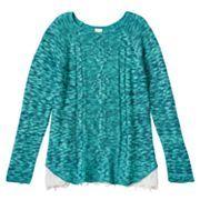 Girls 7-16 & Plus Size Mudd® Marled Cable Knit Lace Hem Sweater