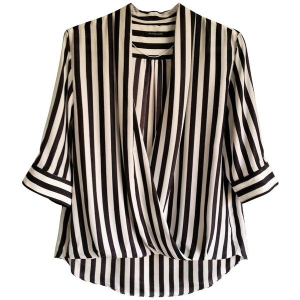 Pre-owned striped silk blouse ($98) ❤ liked on Polyvore featuring tops, blouses, white, wrap blouse, silk top, elbow sleeve tops, white loose blouse and white top