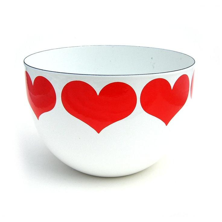 arabia, finland enamel bowl decorated by kaj franck.
