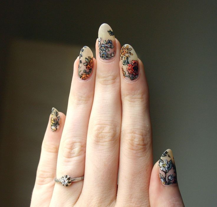 "Wildflowers on nude nails- ""Based on the beautiful botanical tattoos done by Kir…"