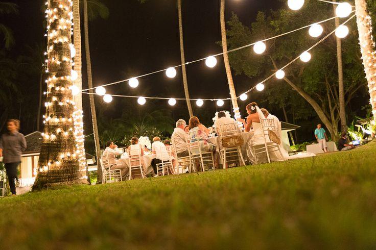 Rice paper lanterns and fairy lights. outdoor wedding reception. Thailand wedding