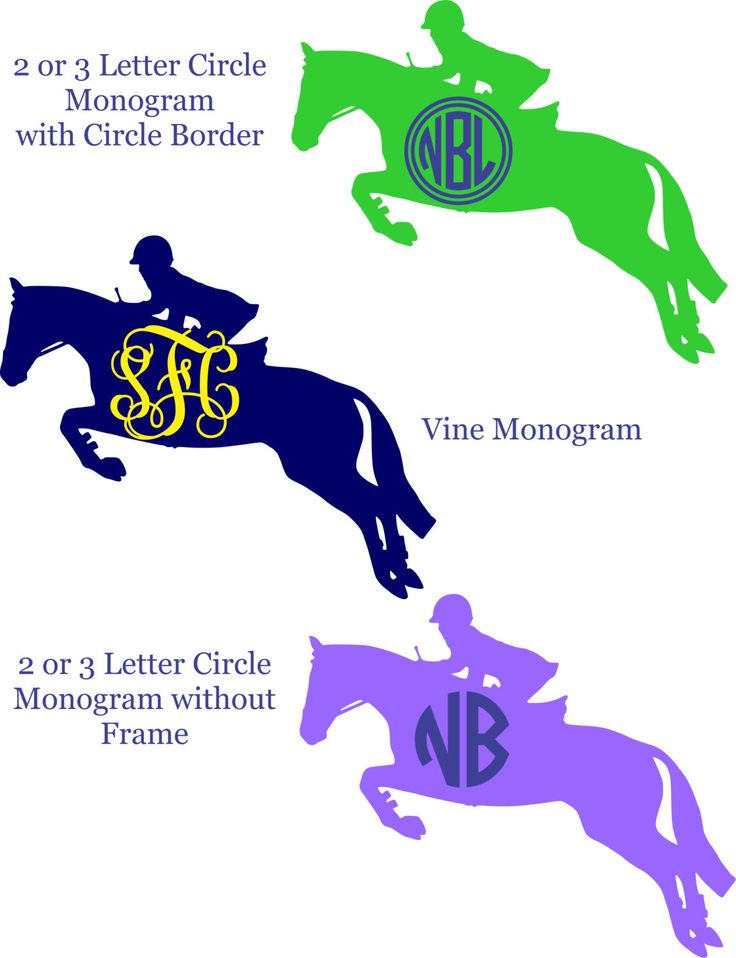 Hunter Jumper Monogram Vinyl Decal - Personalized (2 colors) by ChicksDigVinyl on Etsy https://www.etsy.com/listing/190248894/hunter-jumper-monogram-vinyl-decal