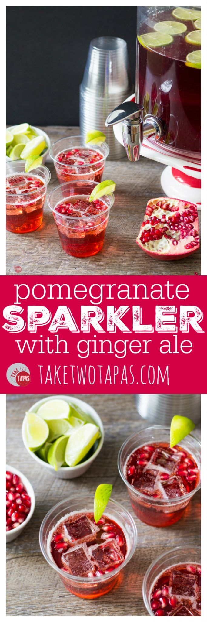A large batch of Pomegranate Ginger Ale Sparkler will help you celebrate your holiday party with ease! Pomegranate Ginger Ale Sparkler Cocktail Recipe | Take Two Tapas