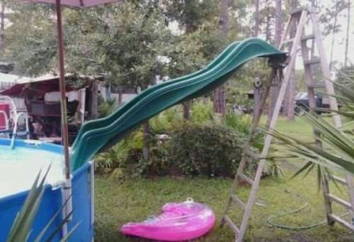 diy pool slide i know kiley my dad and my brothers could rig this up i want it for the kids of course back yard fun pinterest diy pool pool