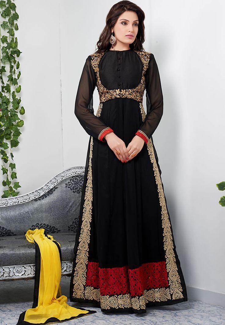Glamorous black color full length anarkali suit-Clothing-DANI CREATIONS