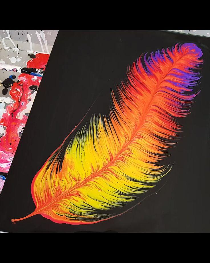 Acrylic Pour – Paint Kiss Feather. Fluid Art Tutor…