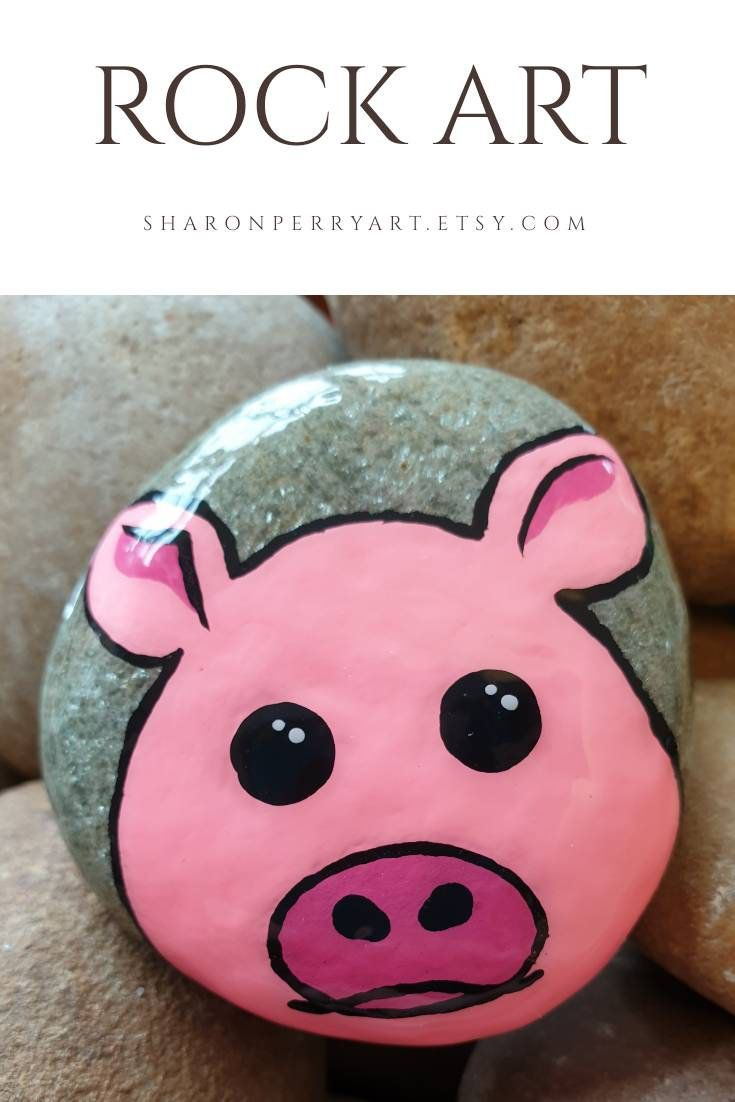 Pink Pig Rock Art Painted Stone Etsy Painted Rock Animals Rock Painting Patterns Rock Painting Art