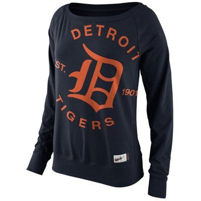 Nike Detroit Tigers Ladies Cooperstown Washed Epic Crew Fleece Sweatshirt - Navy Blue