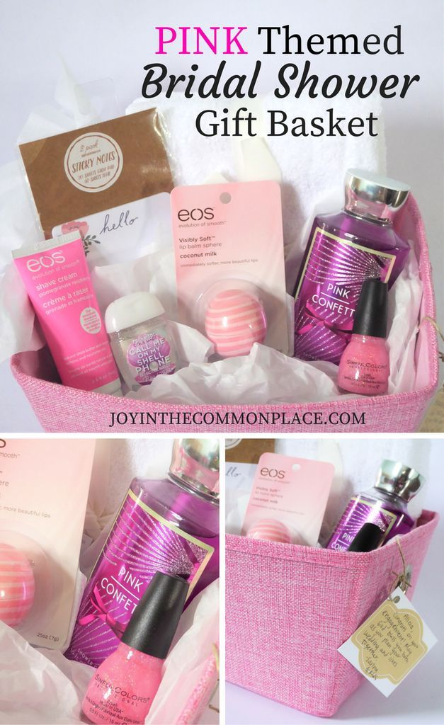 games to play at couples wedding shower%0A Pink Themed Gift Basket Idea for a Bridal Shower