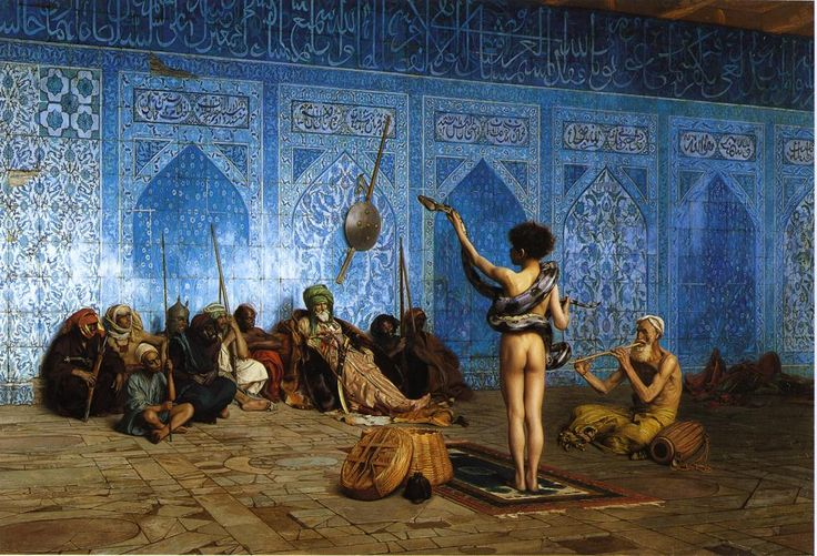 Jean-Leon Gerome, The snake charmer, 1879. This painting creates a sense of mystery as we see a young child nude infront of a huddle of people, for the contemporary audience it is very unusual and allows us to think about the name in significance to our view and wonder how the young boy is being treated in this time.