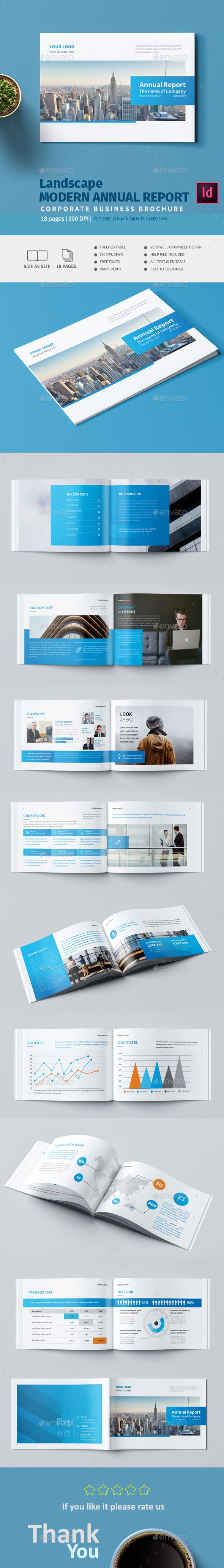 Landscape Modern Annual Report Template InDesign INDD - 18 Custom Pages
