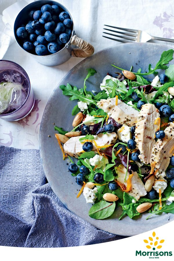 Blueberries' unique flavor give this chicken salad an exciting burst of flavor. This chicken & blueberry salad recipe also works well with a blue cheese such as Stilton or Roquefort.    Serves 4 Total time required  Total time: 35 mins Preparation time: 15 mins Cooking time: 20 mins
