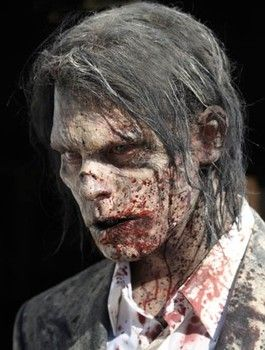 Homemade Halloween Zombie costume skin and hair - never underestimate flour!