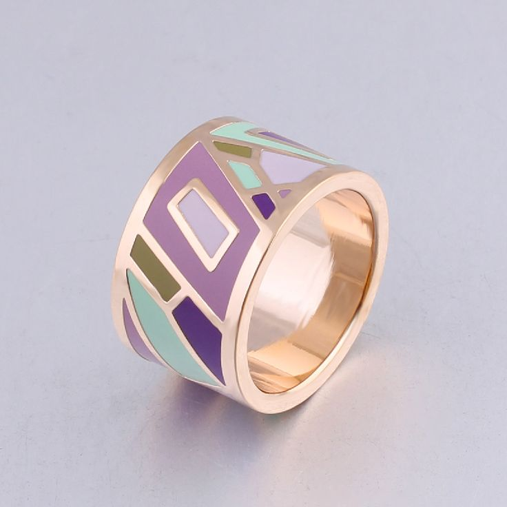New arrival Vintage Rings Women classic stainless steel big rings for women 1.3cm  Designers Color geometric Enamel Ring