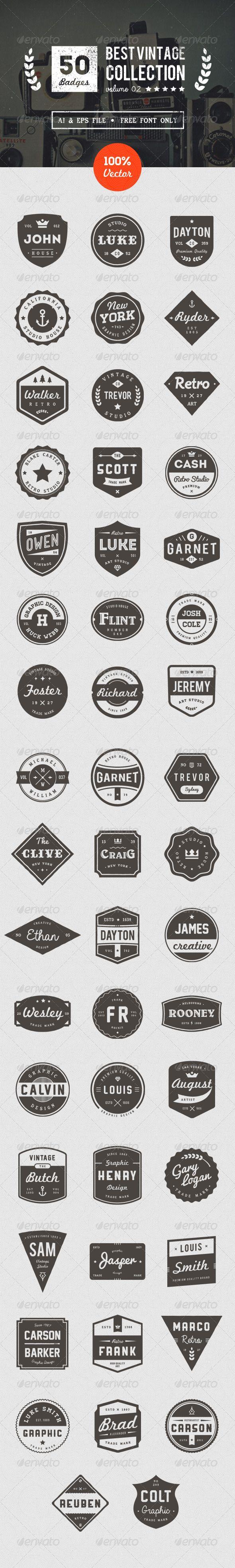 50 Retro Badges