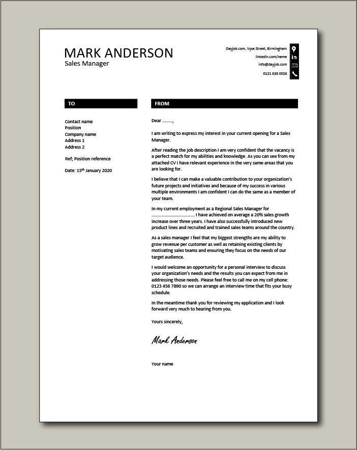 Sales Cover Letter Sample in 2020 | Cover letter sample ...
