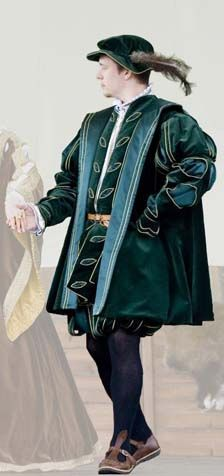 Noble Tudor costume   from the 16th century based on book The Tudor Tailor (Mikhaila, Malcolm-Davies) made of velvet, sateen and cotton is decorated by gold twisted cord.