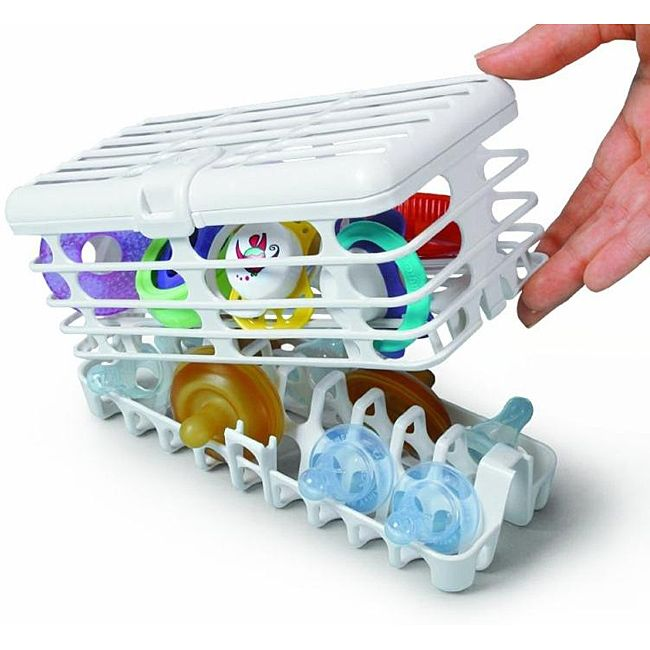 The only dishwasher basket that holds nipples directly above water jets for the most thorough sanitizing and rinsing. The quick load bottom basket holds all brands of baby bottle nipples. The upper co