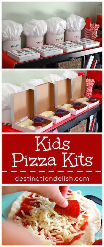 Kids Pizza Kits - a cute pizza party idea for the kids! These pizza kits let kids be a chef for the day as they make their own personal mini pizzas.