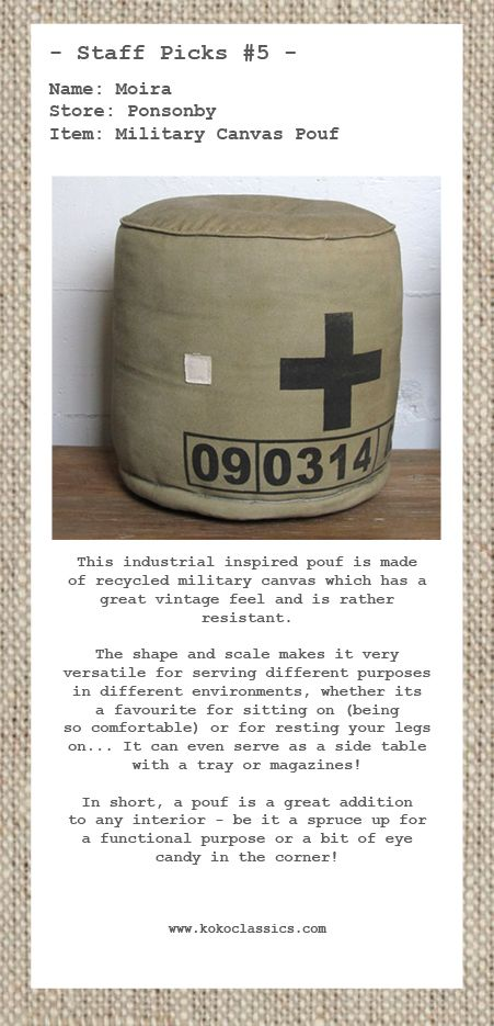 Industrial inspired canvas pouf