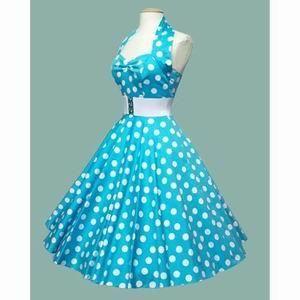 Голубое платье в стиле стиляг