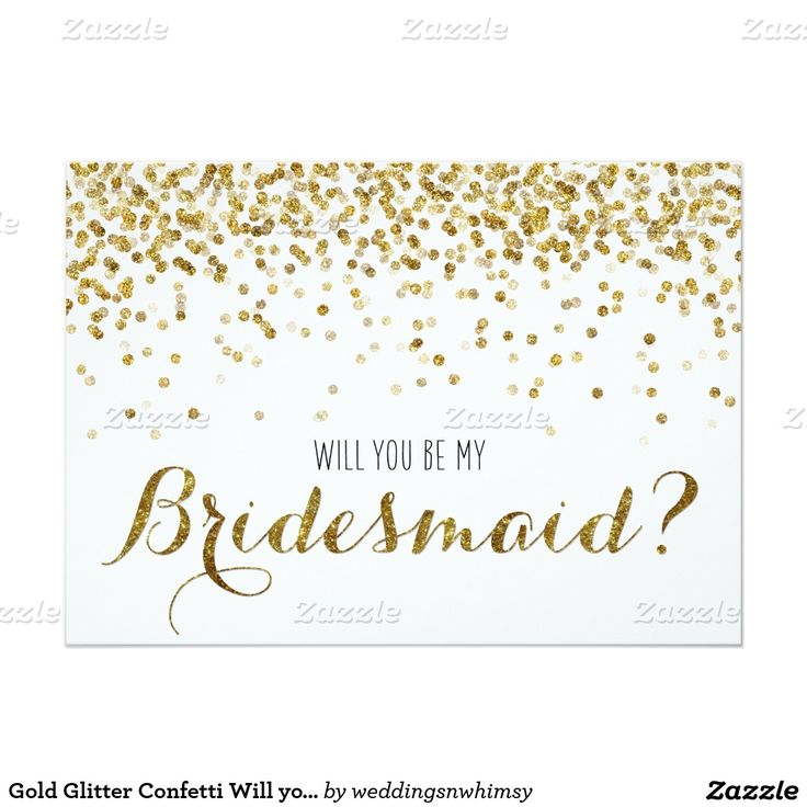 80 best diy notebook images on pinterest business card design gold glitter confetti will you be my bridesmaid 5x7 paper invitation card junglespirit Gallery