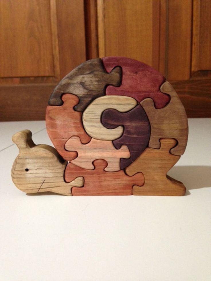Wooden SNAIL Scroll Saw Puzzle - Handmade -10 Pieces - Stained In Various Colors #Handmade