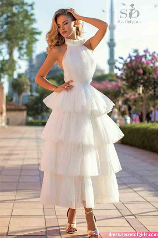 White Tiered Wedding Dress 2019 A Line Vintage Bride Dresses Halter Neck Mid Calf Romantic Bridal Gown En 2020 Vestidos De Novia Vestidos De Fiesta Vestidos De Coctail