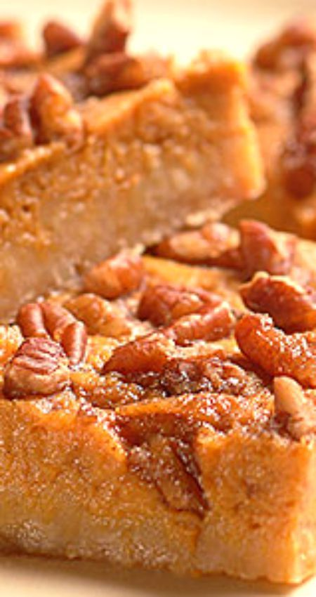 Pumpkin Squares ~ A layer of sumptuous pumpkin filling between a buttery crust and nutty, sweet topping.
