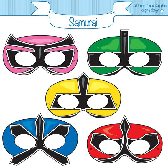 Ranger Samurai Masks, Printable Mask, Paper Mask, Power Rangers Inspired
