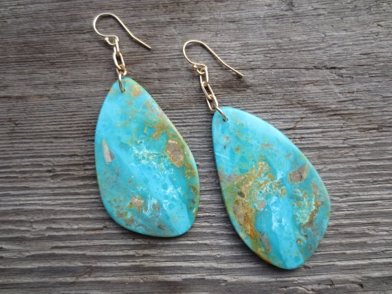 Natural Turquoise Slab Earrings On Delicate Gold Jewelry