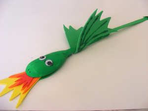 St David's Day crafts. Dragon made from a wooden spoon.