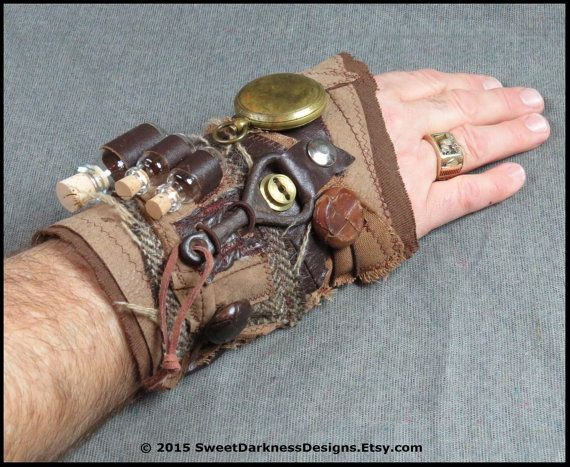 SteamPunk Cuff - Industrial Wrist cuff - POST APOCALYPTIC Apothecary Vial Brass Compass SteamPunk Accessory Clothing by SweetDarknessDesigns