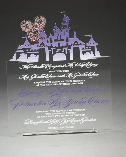 Beautiful Disney Inspired Acrylic Invitation! #disney #wedding #castle  #magical