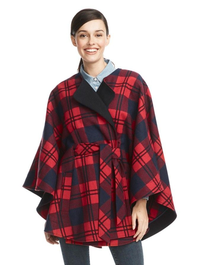There's no easier way to look instantly chic than by throwing on a cape. We brought back our popular Georgia Cape, this time turned out in our festive holiday plaid. It's geniusly designed with a clever belt detail that ties in front but is concealed in the back for a streamlined effect.