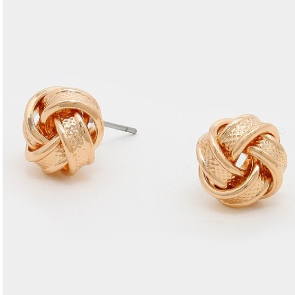 Textured metal love knot studs Gold color-  *please understand that this is retail meaning I had to purchase from a wholesaler so the current price is the only way I will make a profit - price is firm - thank you for your support ❤️ Jewelry Earrings
