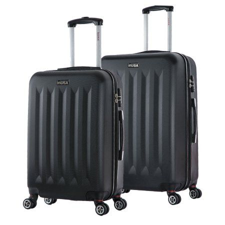 InUSA Philadelphia Collection Lightweight Hardside Spinner 2-Piece Set, 23 inch, 27 inch, Black
