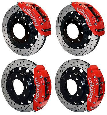 WILWOOD DISC BRAKE KIT,GMC,CHEVY TRUCK 2500,4.84,16 DRILLED ROTORS,RED CALIPER