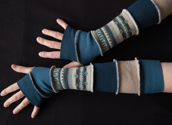 Arm Warmers Made From Upcycled Sweaters Upcycled Woman's Clothing Man Teens Eco Friendly Funky Style Winter Fashion Upcycled Clothing. $25.00, via Etsy.