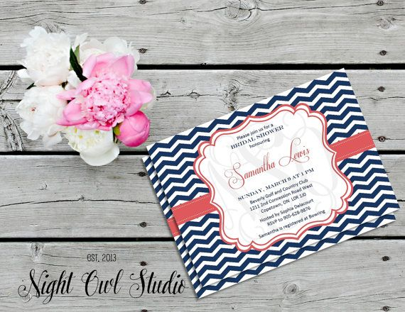 Navy and Coral Invitation-Navy Chevron-Coral-Bridal Shower-Baby Shower-Printable-Invite