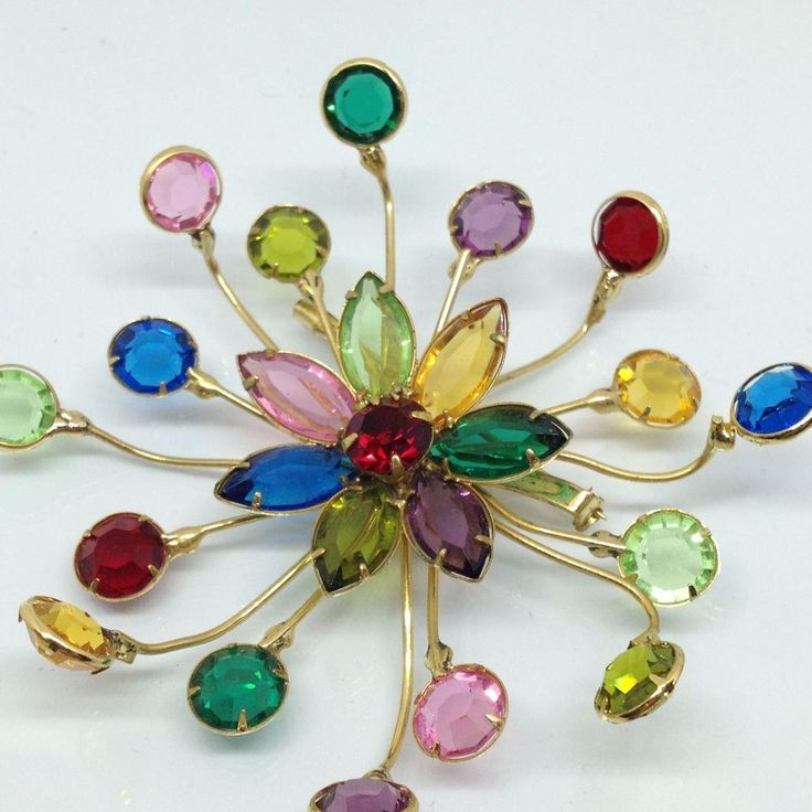 Vintage FLOWER BURST BROOCH PIN Faceted Glass Rhinestone Colorful Gold Tone #Unbranded