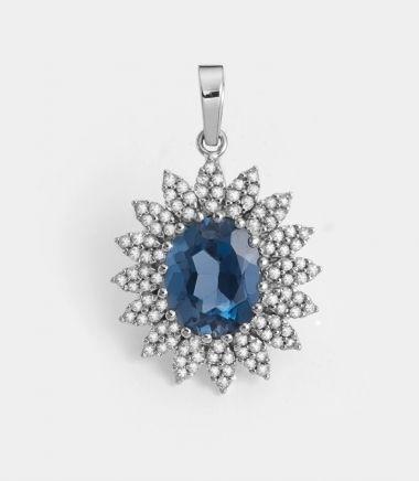 Pingente em Ouro Branco com 54 Ptos de Diamantes e Topázio London Blue | Guest Club